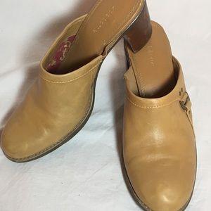 Mustard Chunky Heel Slide
